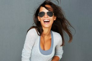 happy woman laughing